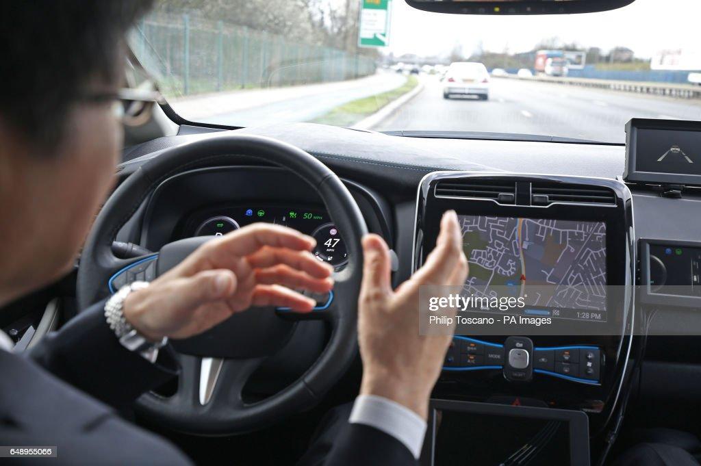 Nissan driverless car demonstration : News Photo