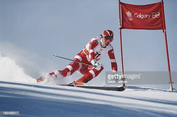 Tetsuya Okabe of Japan in action during the Men's Giant Slalom event on 25th February 1988 during the XV Olympic Winter Games in Nakiska Alberta...