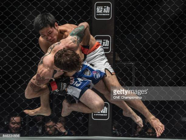 Tetsuya Yamada outgrapples Kyle Rozewski during ONE Championship Shanghai at the Shanghai Oriental Sports Center on September 02 2017 in Shanghai...