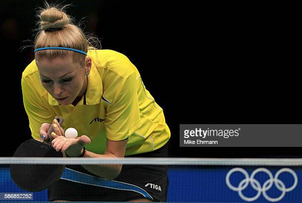 Tetyana Bilenko of Ukraine plays a Women's Singles second round match against Iveta Vacenovska of the Czech Republic on Day 1 of the Rio 2016 Olympic...