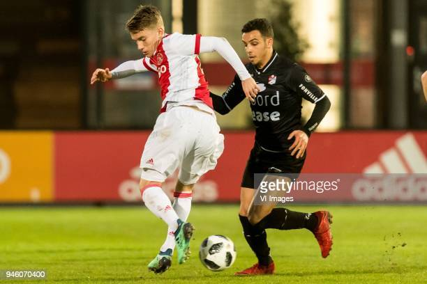 Teun Bijleveld of Jong Ajax Hilal Ben Moussa of FC Emmen during the Jupiler League match between jong Ajax Amsterdam and FC Emmen at De Toekomst on...