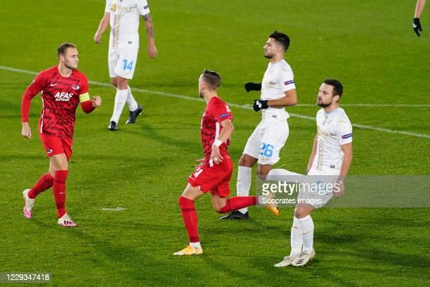Teun Koopmeiners of AZ Alkmaar celebrates 1-0 during the UEFA Europa League match between AZ Alkmaar v Rijeka at the AFAS Stadium on October 29, 2020...