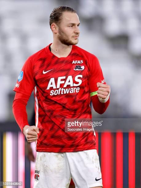 Teun Koopmeiners of AZ Alkmaar celebrates 4-2 during the Dutch Eredivisie match between AZ Alkmaar v Feyenoord at the AFAS Stadium on February 28,...