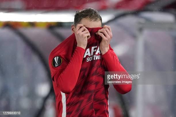 Teun Koopmeiners of AZ Alkmaar dejected after the match during the UEFA Europa League match between AZ Alkmaar v Napoli at the AFAS Stadium on...