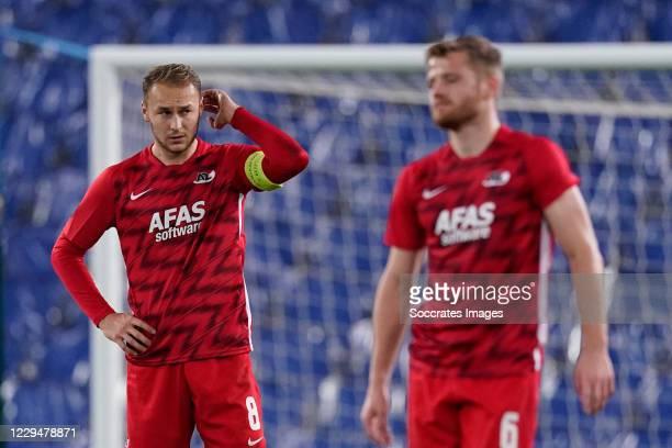 Teun Koopmeiners of AZ Alkmaar, Fredrik Midtsjo of AZ Alkmaar during the UEFA Europa League match between Real Sociedad v AZ Alkmaar at the Estadio...