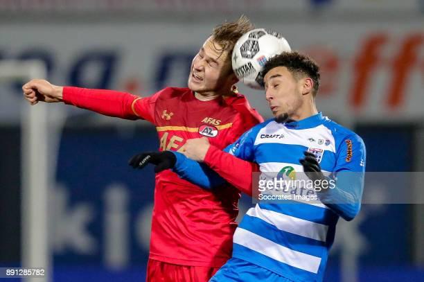 Teun Koopmeiners of AZ Alkmaar Younes Namli of PEC Zwolle during the Dutch Eredivisie match between PEC Zwolle v AZ Alkmaar at the MAC3PARK Stadium...