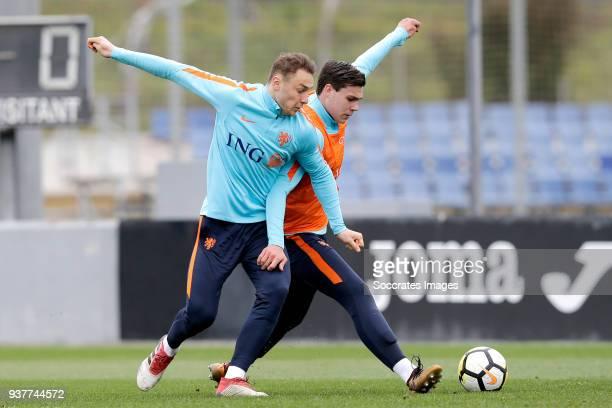 Teun Koopmeiners of Holland U21 Justin Hoogma of Holland U21 during the Training Holland U21 at the Ciutat Esportiva Dani Jarque on March 25 2018 in...