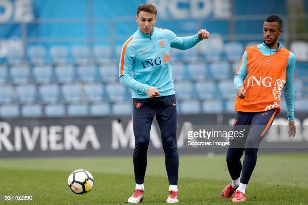 Teun Koopmeiners of Holland U21 Richairo Zivkovic of Holland U21 during the Training Holland U21 at the Ciutat Esportiva Dani Jarque on March 25 2018...