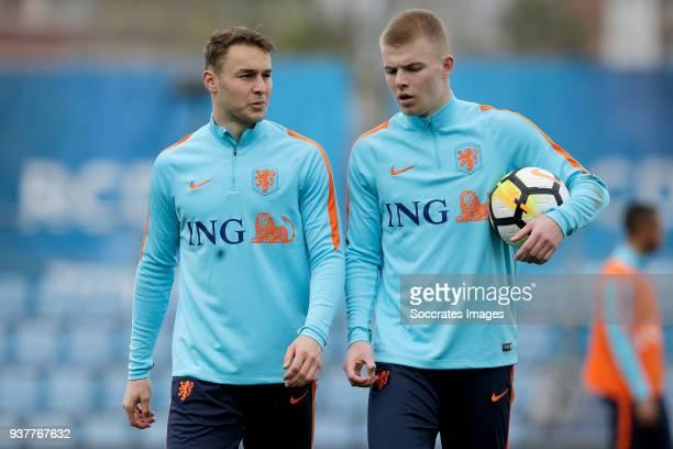 Teun Koopmeiners of Holland U21 Rick van Drongelen of Holland U21 during the Training Holland U21 at the Ciutat Esportiva Dani Jarque on March 25...