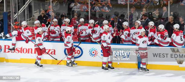 Teuvo Teravainen Justin Faulk Jordan Staal and Sebastian Aho of the Carolina Hurricanes celebrate a goal against the Edmonton Oilers on October 17...
