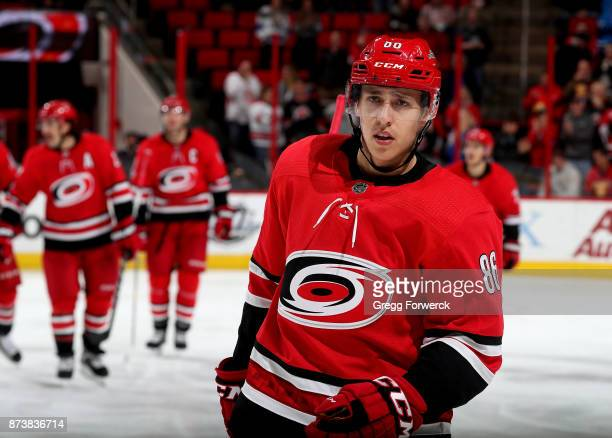 Teuvo Teravainen of the Carolina Hurricanes celebrates after scoring his first career hat trick during an NHL game against the Dallas Stars on...