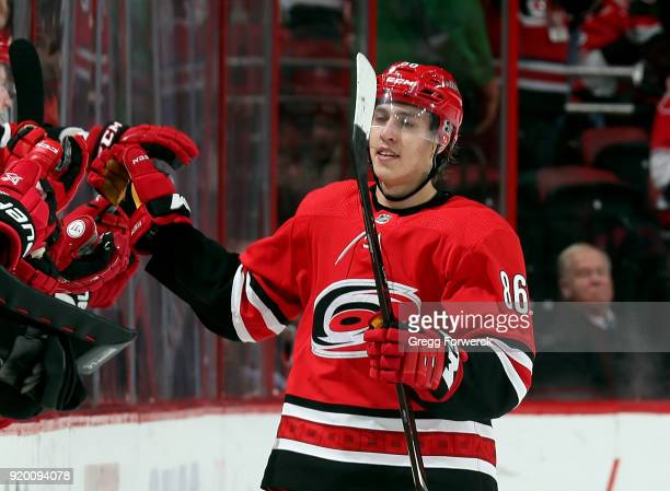 Teuvo Teravainen of the Carolina Hurricanes celebrates his second period goal against the New Jersey Devils during an NHL game on February 18 2018 at...