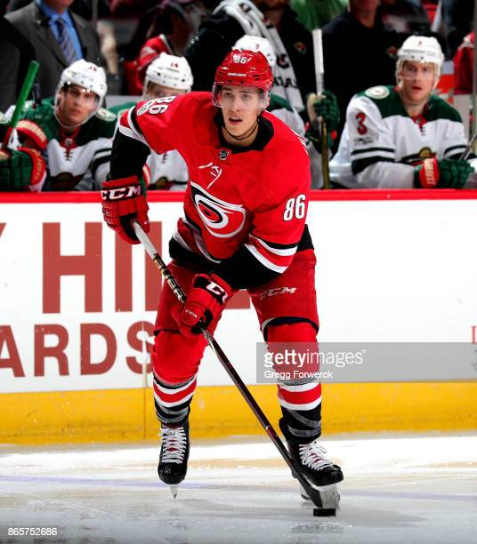 Teuvo Teravainen of the Carolina Hurricanes controls a puck on the ice against the Minnesota Wild during an NHL game on October 7 2017 at PNC Arena...