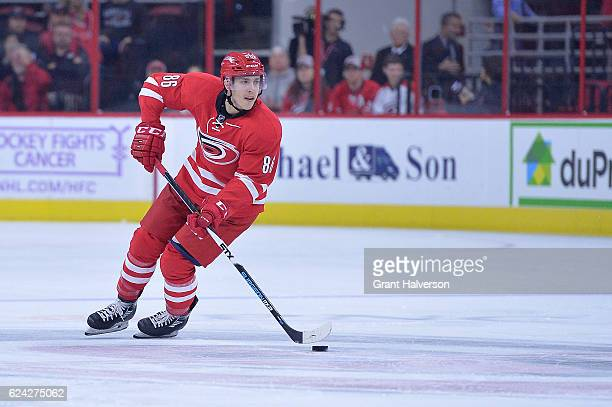 Teuvo Teravainen of the Carolina Hurricanes controls the puck against the Montreal Canadiens during the game at PNC Arena on November 18 2016 in...