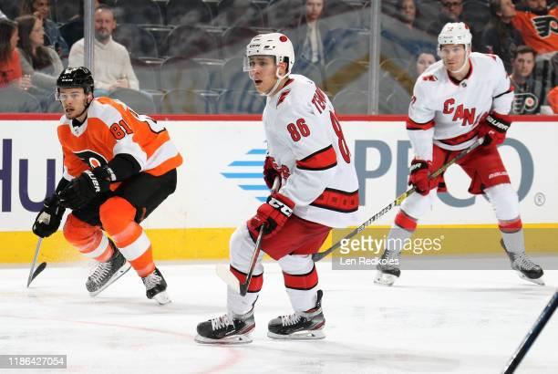 Teuvo Teravainen of the Carolina Hurricanes skates against Carsen Twarynski of the Philadelphia Flyers on November 5, 2019 at the Wells Fargo Center...