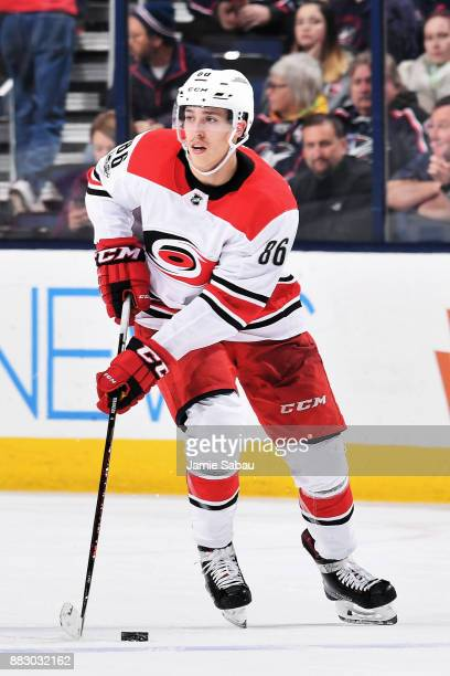 Teuvo Teravainen of the Carolina Hurricanes skates against the Columbus Blue Jackets on November 28 2017 at Nationwide Arena in Columbus Ohio