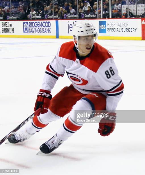 Teuvo Teravainen of the Carolina Hurricanes skates against the New York Islanders at the Barclays Center on November 16 2017 in the Brooklyn borough...