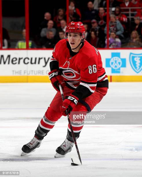 Teuvo Teravainen of the Carolina Hurricanes skates with the puck during an NHL game against the Philadelphia Flyers on February 6 2018 at PNC Arena...