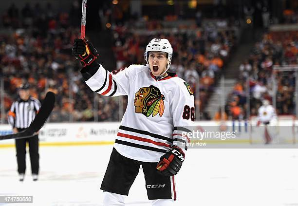 Teuvo Teravainen of the Chicago Blackhawks celebrates a goal against the Anaheim Ducks in the second period of Game Five of the Western Conference...