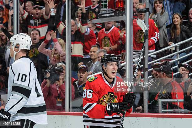 Teuvo Teravainen of the Chicago Blackhawks celebrates after scoring in the third period of the NHL game against the Los Angeles Kings at the United...