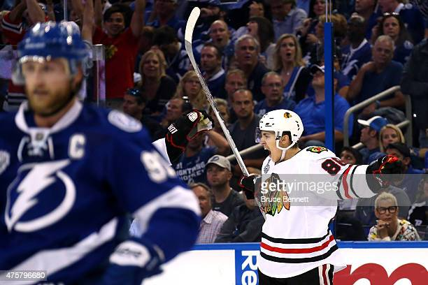 Teuvo Teravainen of the Chicago Blackhawks celebrates his third period goal against the Tampa Bay Lightning during Game One of the 2015 NHL Stanley...