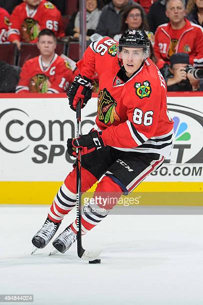 Teuvo Teravainen of the Chicago Blackhawks controls the puck in the first period of the NHL game against the Tampa Bay Lightning at the United Center...