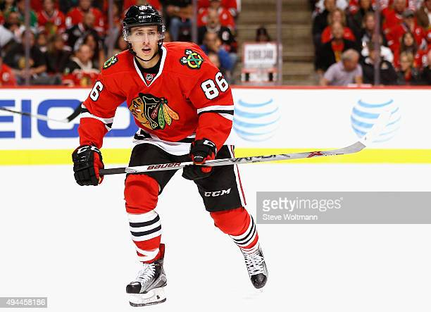 Teuvo Teravainen of the Chicago Blackhawks plays in the game against the New York Rangers at the United Center on October 7 2015 in Chicago Illinois
