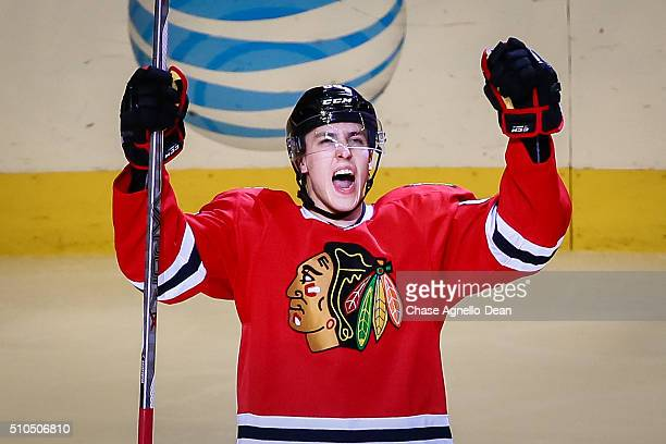 Teuvo Teravainen of the Chicago Blackhawks reacts after scoring in the third period of the NHL game against the Toronto Maple Leafs at the United...