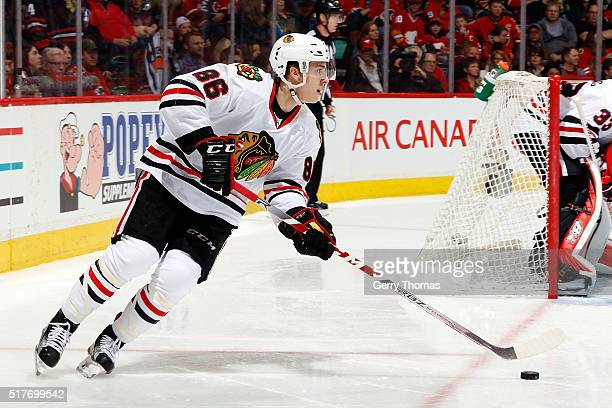 Teuvo Teravainen of the Chicago Blackhawks skates against the Calgary Flames during an NHL game at Scotiabank Saddledome on March 26 2016 in Calgary...
