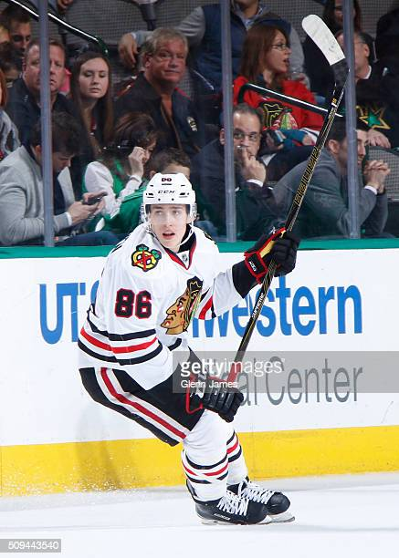 Teuvo Teravainen of the Chicago Blackhawks skates against the Dallas Stars at the American Airlines Center on February 6 2016 in Dallas Texas