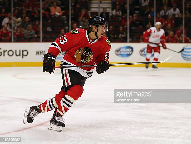 Teuvo Teravainen of the Chicago Blackhawks skates against the Detroit Red Wings during an exhibition game at United Center on September 17 2013 in...