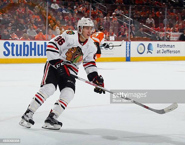 Teuvo Teravainen of the Chicago Blackhawks skates against the Philadelphia Flyers at the Wells Fargo Center on October 14 2015 in Philadelphia...