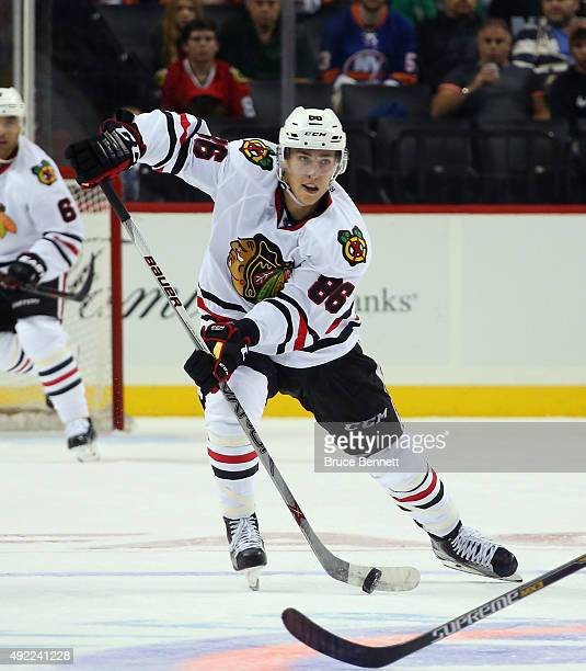Teuvo Teravainen of the Chicago Blackhawks skates against the New York Islanders at the Barclays Center on October 9 2015 in Brooklyn borough of New...