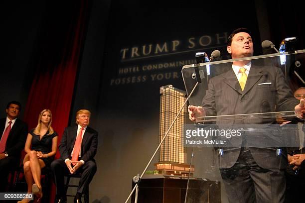 Tevfik Arif Ivanka Trump Donald Trump and Julius Schwarz attend TRUMP SOHO Press Conference at Trump Soho Construction Site on September 19 2007 in...