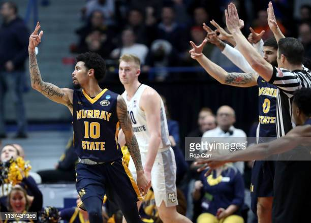 Tevin Brown of the Murray State Racers celebrates after hitting a three pointer during the second half of the first round game of the 2019 NCAA Men's...