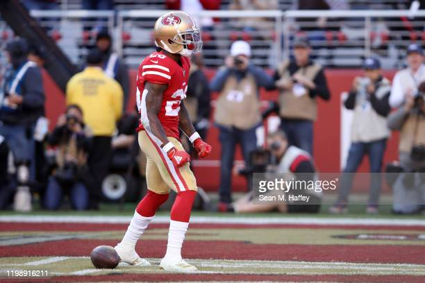 Tevin Coleman of the San Francisco 49ers reacts after a touchdown against the Minnesota Vikings in the second quarter of the NFC Divisional Round...