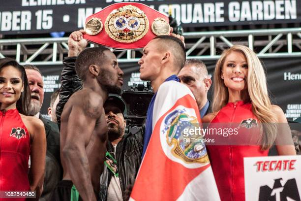 Tevin Farmer and Francisco Fonseca poe and faceoff during the Canelo Alvarez vs Rocky Fielding Weigh-In at Madison Square Garden in New York City on...