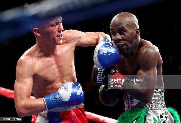 Tevin Farmer fights Francisco Fonseca during their Super Featherweight bout at Madison Square Garden on December 15, 2018 in New York City.