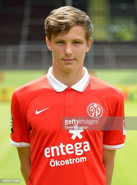 Tevin Ihrig poses during the team presentation of 1 FSV Mainz 05 II at Bruchwegstadion on July 16 2014 in Mainz Germany