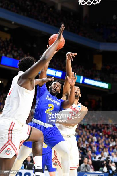 Tevin King of the South Dakota State University is blocked by Keita BatesDiop of the Ohio State University during the First Round of the 2018 NCAA...