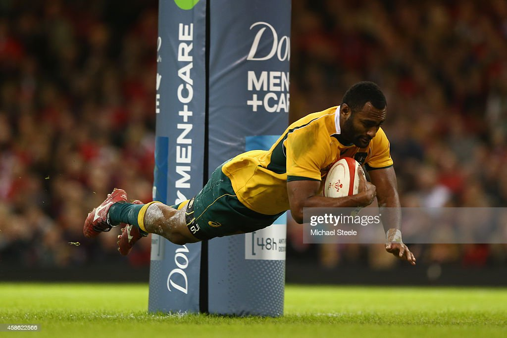 Tevita Kuidrani of Australia dives over to score his sides third try during the International match between Wales and Australia at the Millennium Stadium on November 8, 2014 in Cardiff, Wales.