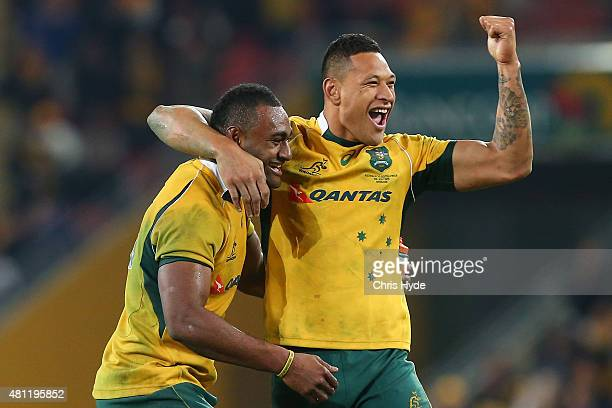 Tevita Kuridrani and Isreal Folau of the Wallabies celebrate winning The Rugby Championship match between the Australian Wallabies and the South...