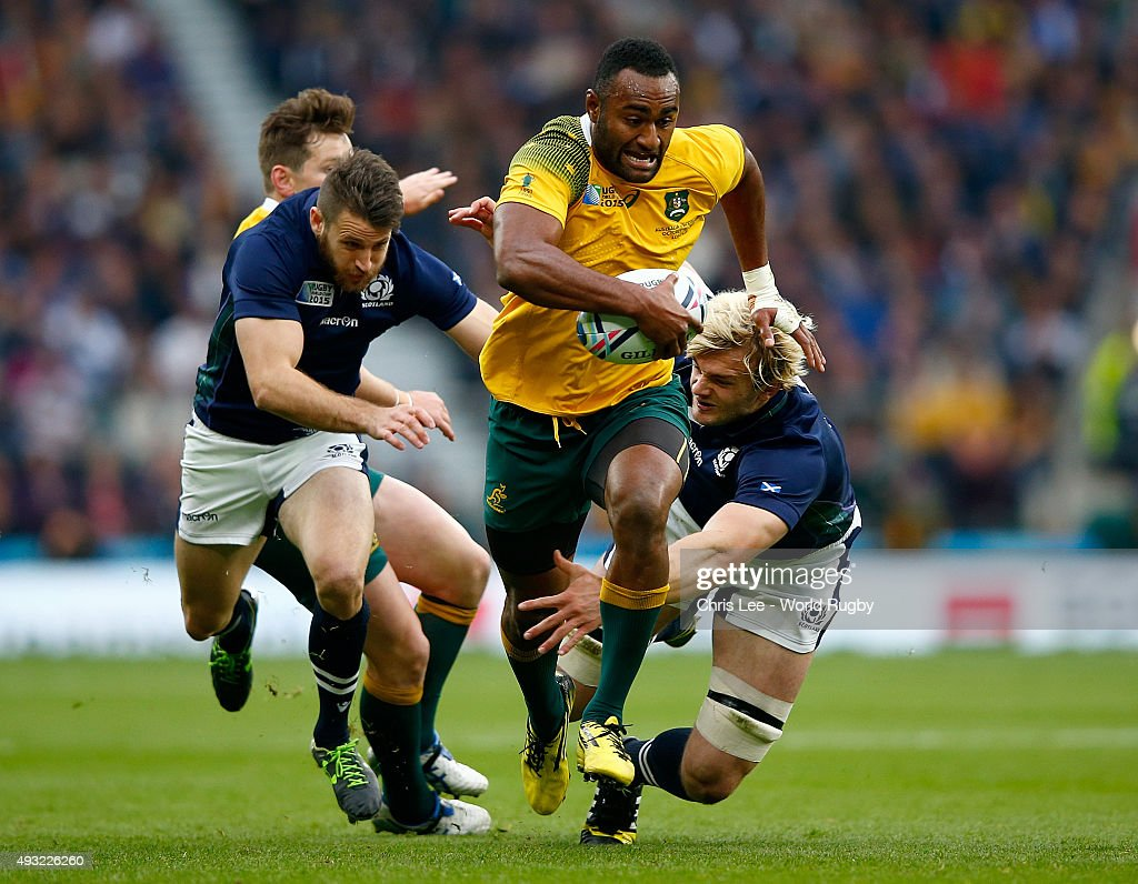 Tevita Kuridrani of Australia breaks past Richie Gray (R) of Scotland during the 2015 Rugby World Cup Quarter Final match between Australia and Scotland at Twickenham Stadium on October 18, 2015 in London, United Kingdom.