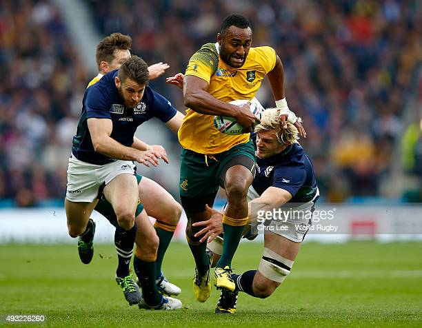 Tevita Kuridrani of Australia breaks past Richie Gray of Scotland during the 2015 Rugby World Cup Quarter Final match between Australia and Scotland...
