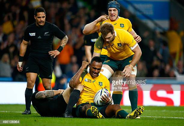 Tevita Kuridrani of Australia celebrates scoring his team's second try during the 2015 Rugby World Cup Final match between New Zealand and Australia...
