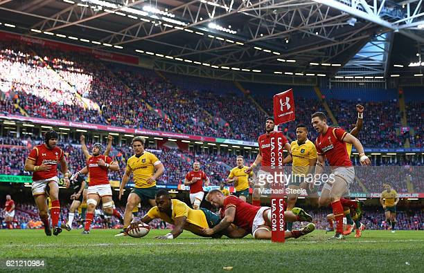 Tevita Kuridrani of Australia powers over to score his team's third try during the international match between Wales and Australia at the...