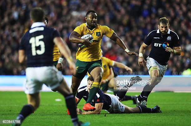 Tevita Kuridrani of Australia runs through to score a try during the Scotland v Australia Autumn Test Match at Murrayfield Stadium on November 12...