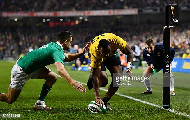 Tevita Kuridrani of Australia scores his side's second try during the international match between Ireland and Australia at the Aviva Stadium on...