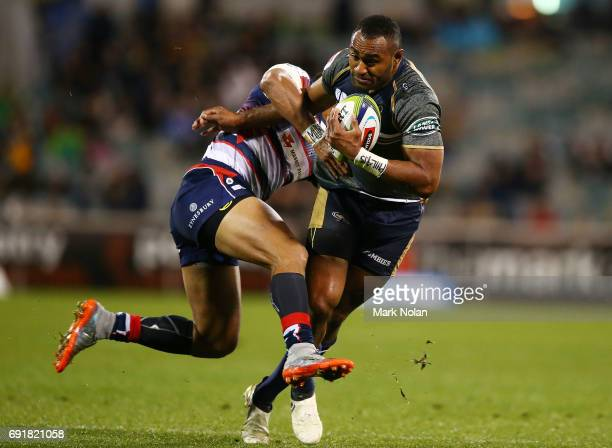 Tevita Kuridrani of the Brumbies in action during the round 15 Super Rugby match between the Brumbies and the Rebels at GIO Stadium on June 3 2017 in...