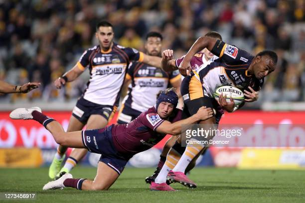 Tevita Kuridrani of the Brumbies is tackled during the Super Rugby AU Grand Final between the Brumbies and the Reds at GIO Stadium on September 19,...